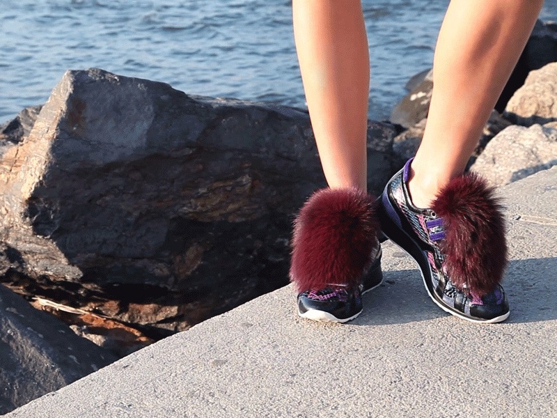 Pierre Hardy Mixed-Media Fur-Front Sneakers