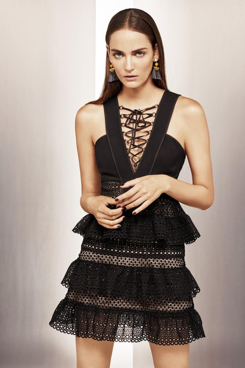 Self Portrait Lace-Up Tiered Dress