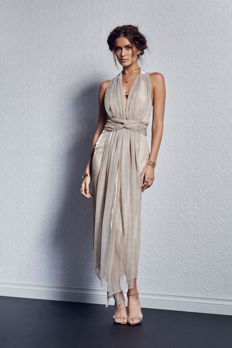Shona Joy Meriel Plunged Shawl Midi Dress