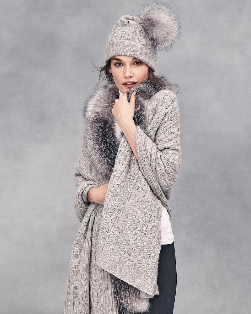 Sofia Cashmere Fur-Trim Cashmere Scarf