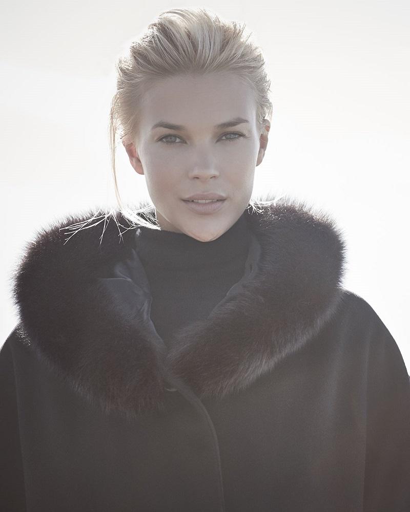 Sofia Cashmere Fur-Trim Hooded Capelet-