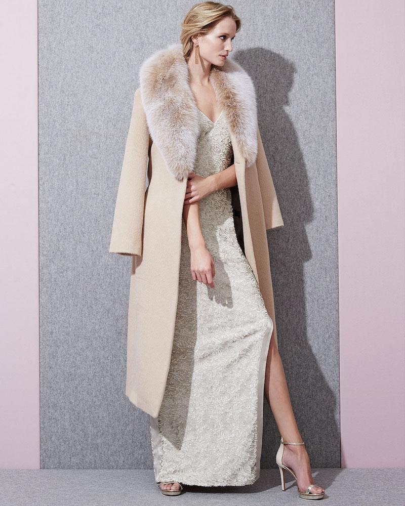 Sofia Cashmere Long Alpaca-Blend Wrap Coat with Fox Fur Collar