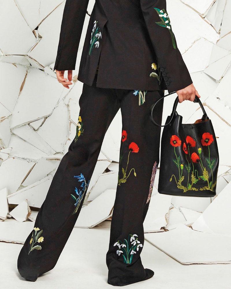 Stella McCartney Flower-Embroidered Bucket Bag