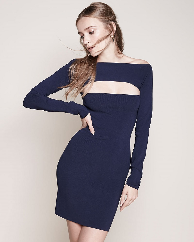 T by Alexander Wang Long-Sleeve Cutout Mini Dress