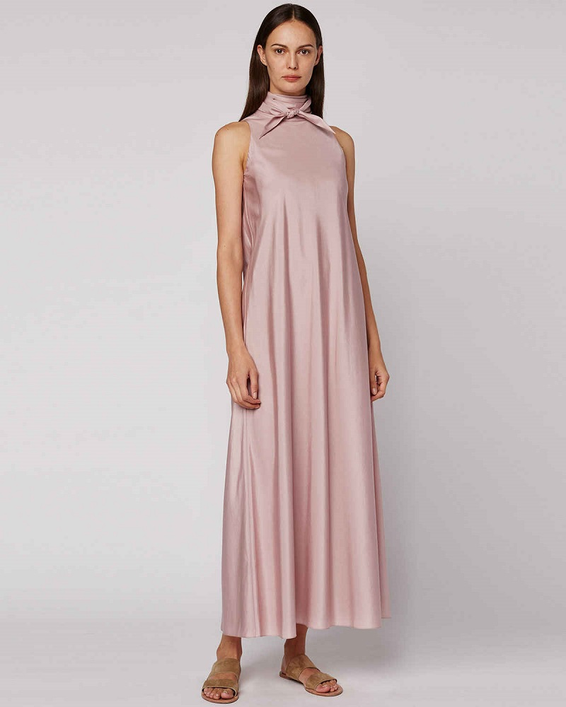 THE ROW Abiana Sleeve Neck-Tie Dress