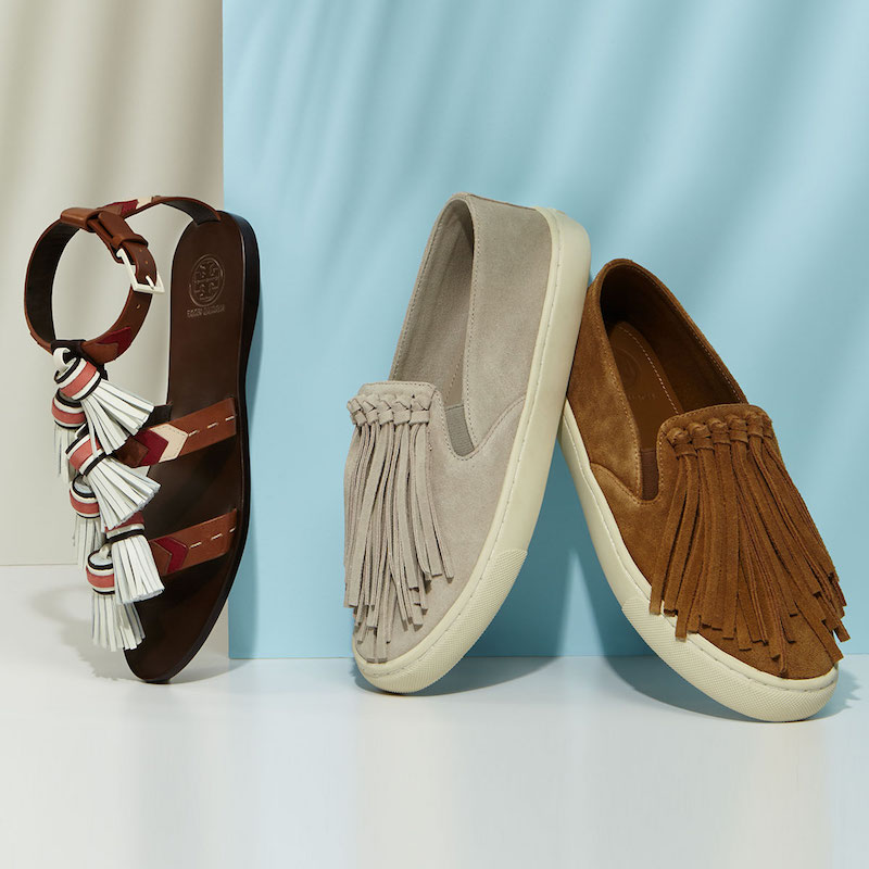 Tory Burch Fria Fringe Suede Slip-On Sneaker & Weaver Flat Tassel Sandal