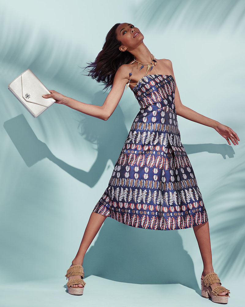 Tory Burch Strapless Metallic Jacquard Dress