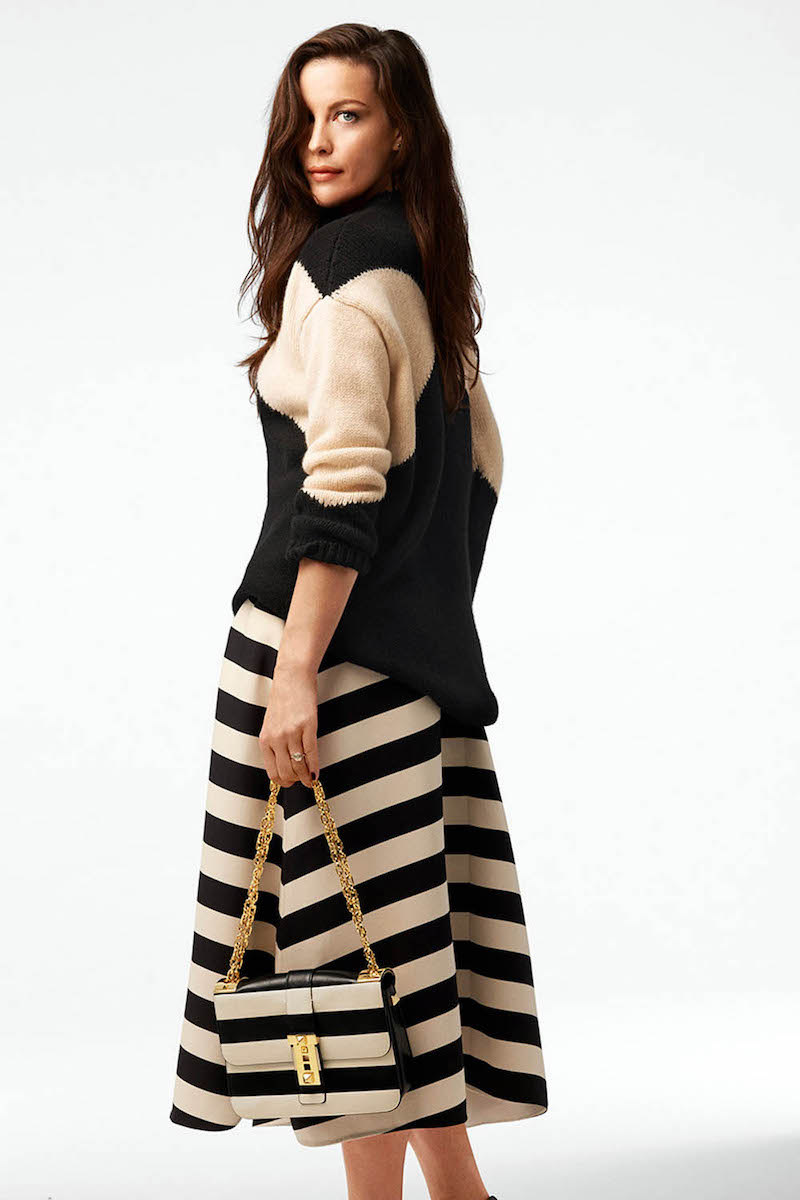 Valentino Striped Wool and Silk-blend Skirt