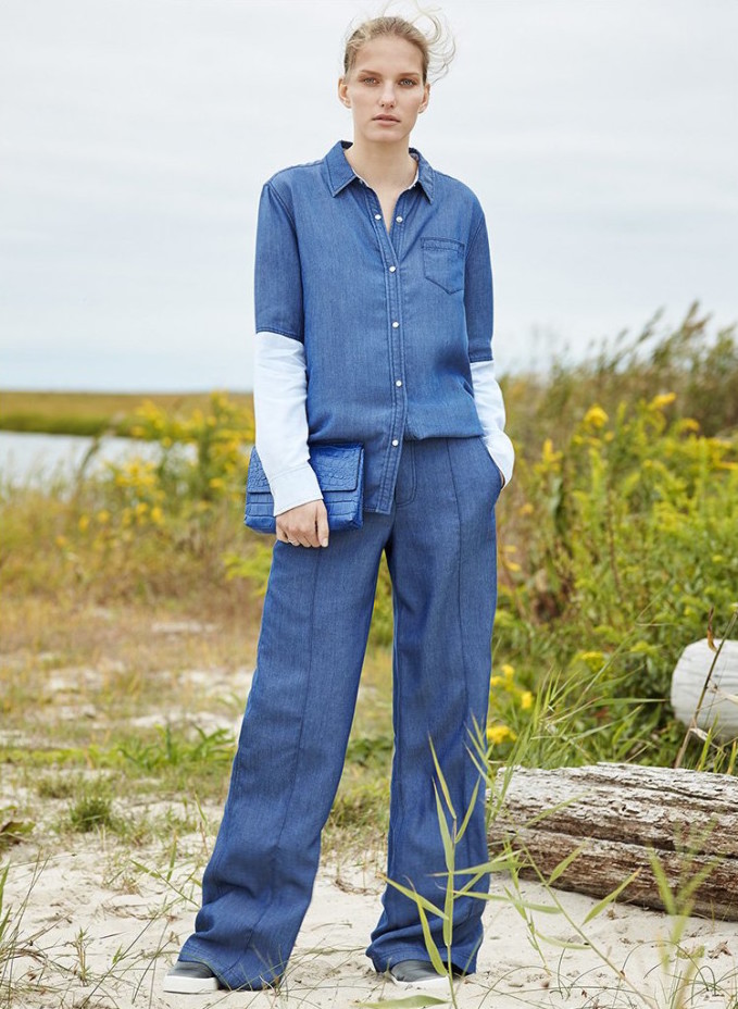 Vince Chambray Pintuck Wide Leg Trousers