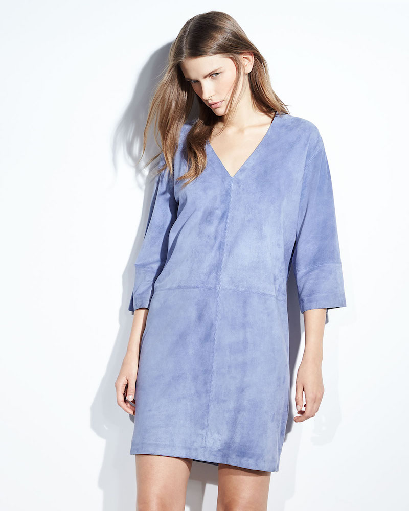 Vince Suede V-Neck Shift Dress