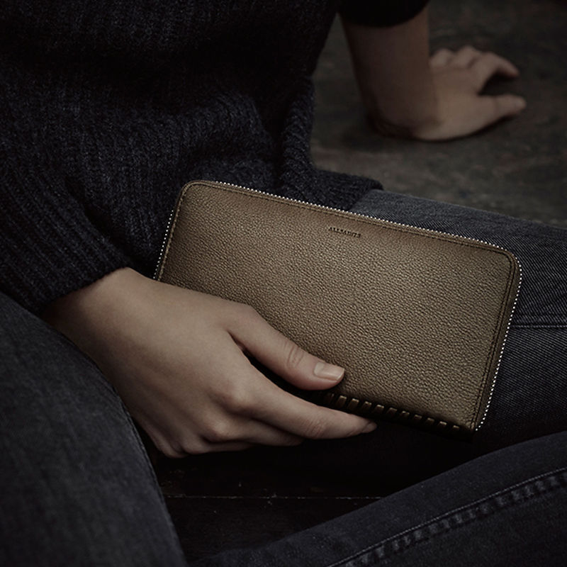 AllSaints Club Zip Around Wallet