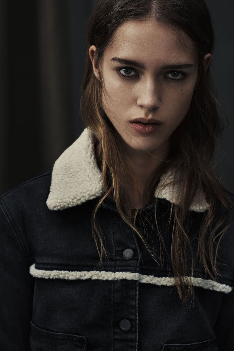 AllSaints Zoe Denim Shearling Jacket
