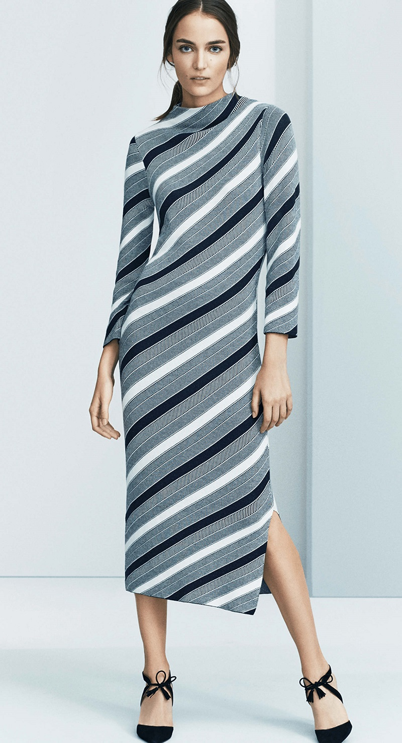 Ann Taylor Striped Midi Sweater Dress