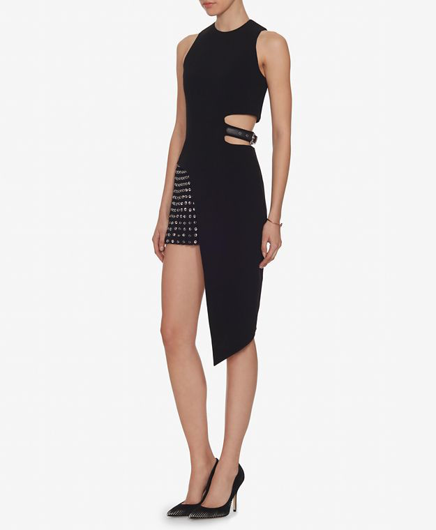 Anthony Vaccarello Grommet Asymmetric Cut Out Dress