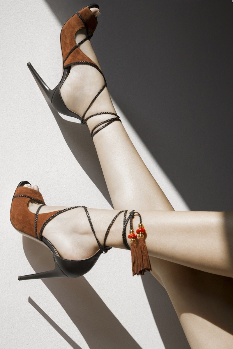 Aquazzura X Poppy Delevingne Hero Suede Sandals