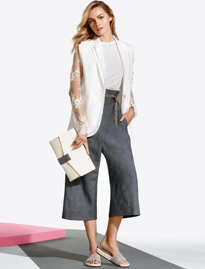 Brunello Cucinelli Organza-Underlay Linen & Cotton Vest