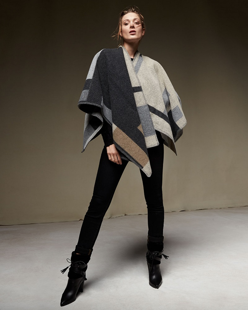 Burberry Prorsum Colorblock Mega Check Cape
