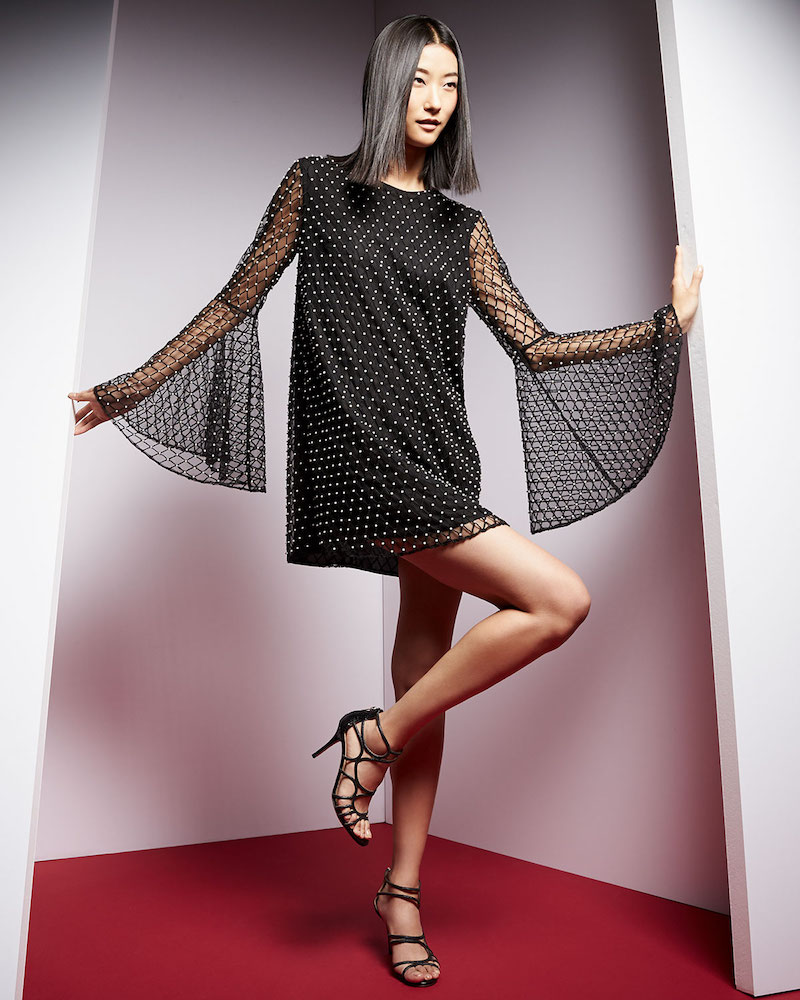 Camilla and Marc Long-Sleeve Beaded Net Tulle Dress
