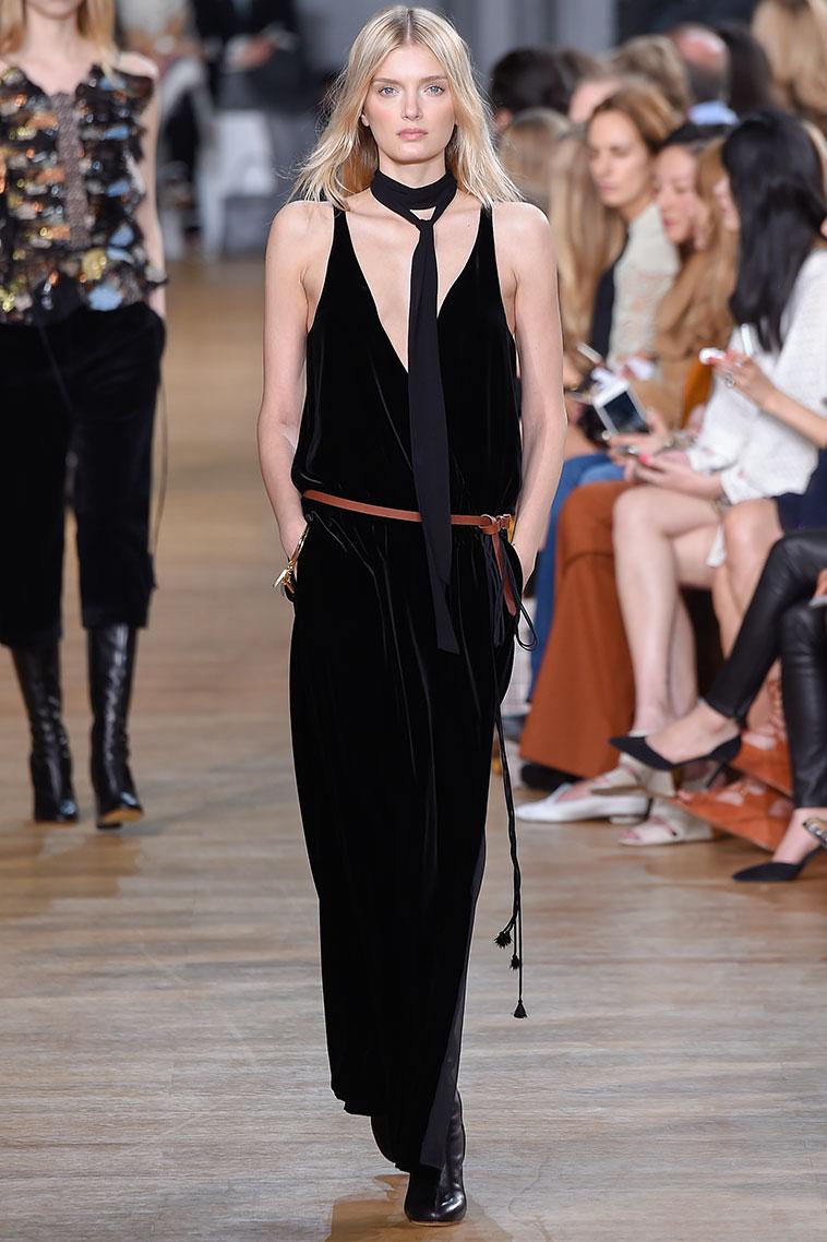 Chloé V-neck velvet gown