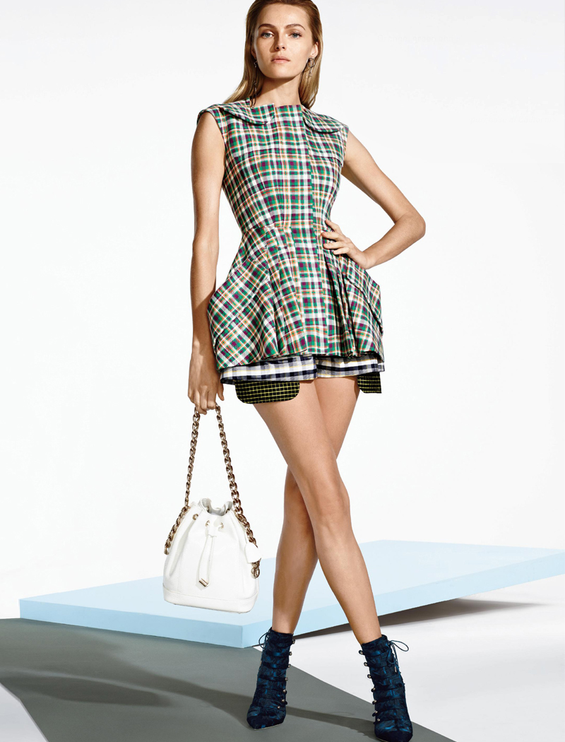 Christina Dior Orange, Green and Plum Sleeveless Checked Cottonm Jacket
