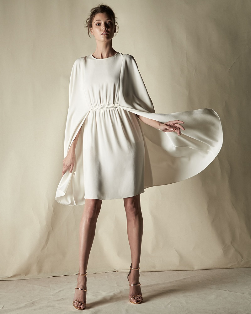 Co Jewel-Neck Crepe Cape Dress