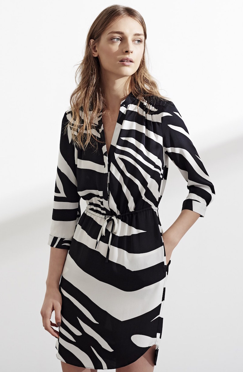 Diane von Furstenberg Freya Zebra Stripe Stretch Silk Shirtdress