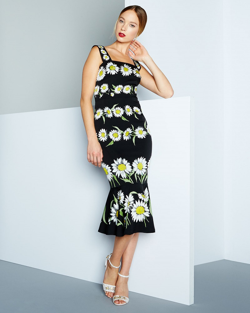 Dolce & Gabbana Daisy-Print Flounce-Hem Dress