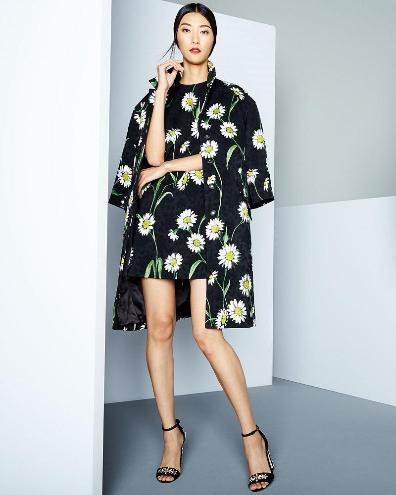 Dolce & Gabbana Daisy-Print Topper Coat