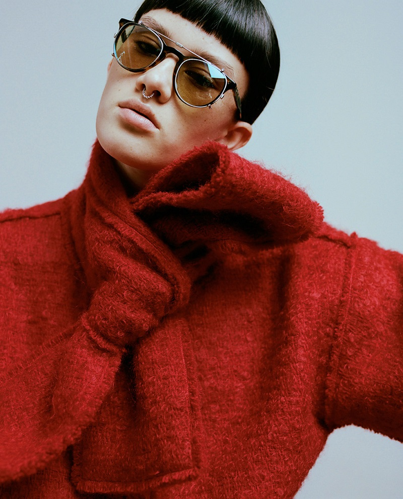 Dolce & Gabbana Red Wool Scarf Coat