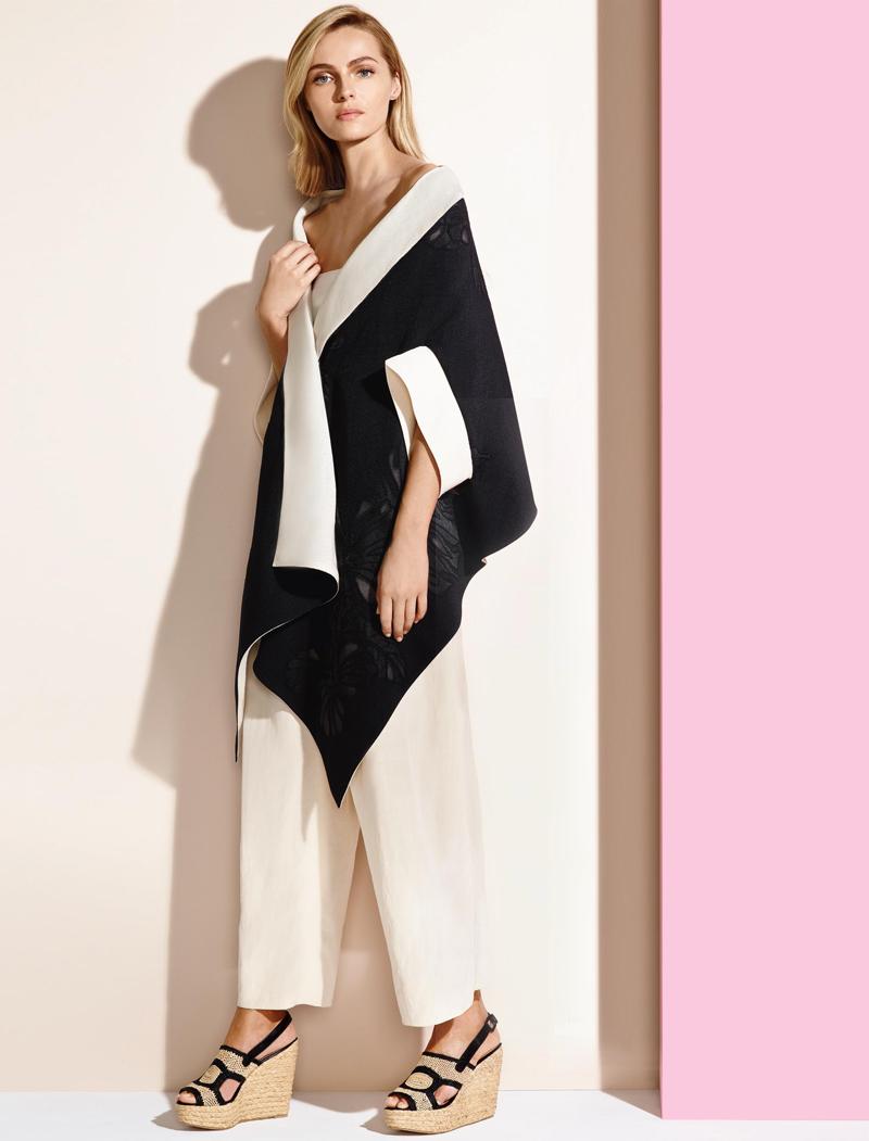 Donna Karan Asymmetrical Jacquard Wrap Jacket