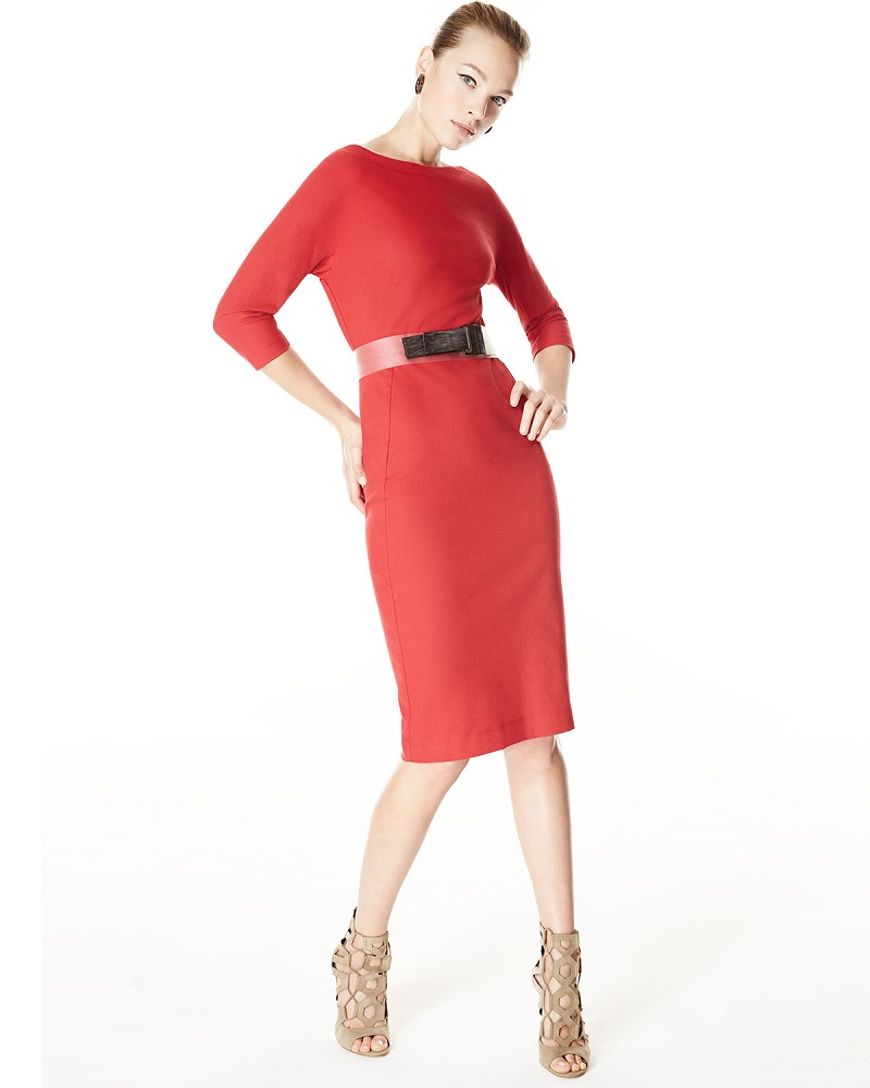 Donna Karan Half-Sleeve Belted Sheath Dress