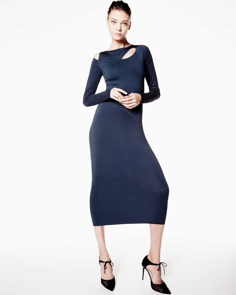 Donna Karan Long-Sleeve Cold-Shoulder Sheath Dress