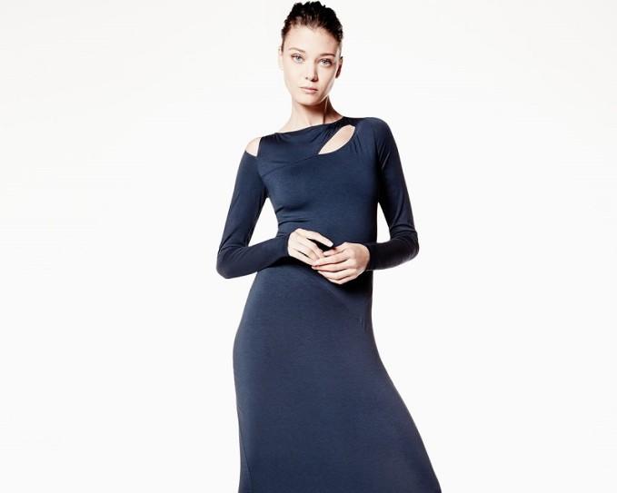 Donna Karan Long-Sleeve Cold-Shoulder Sheath Dress