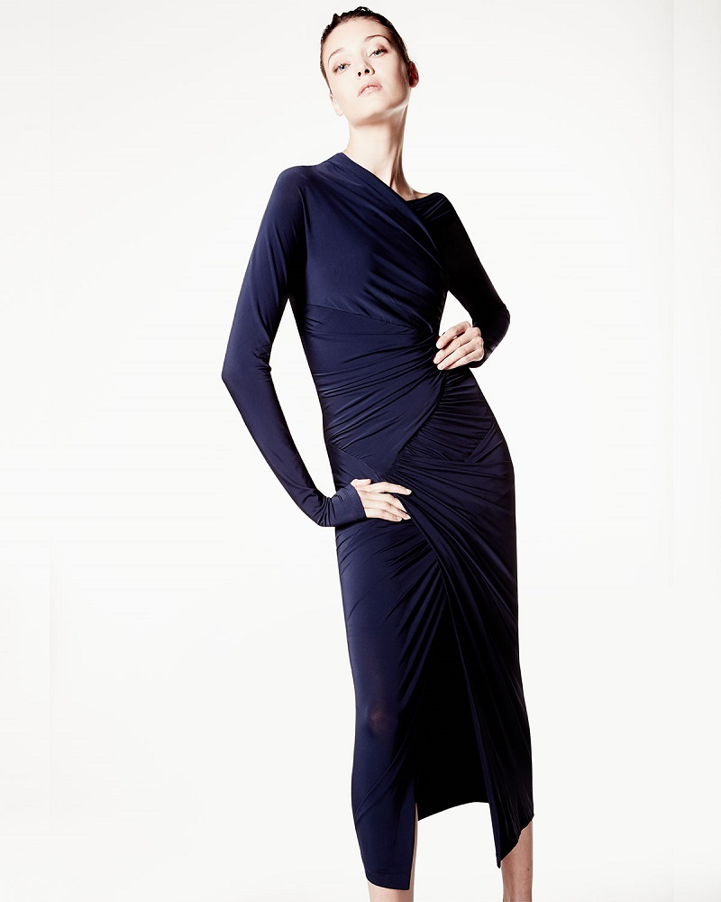Donna Karan Long-Sleeve Drape Cocktail Sheath Dress