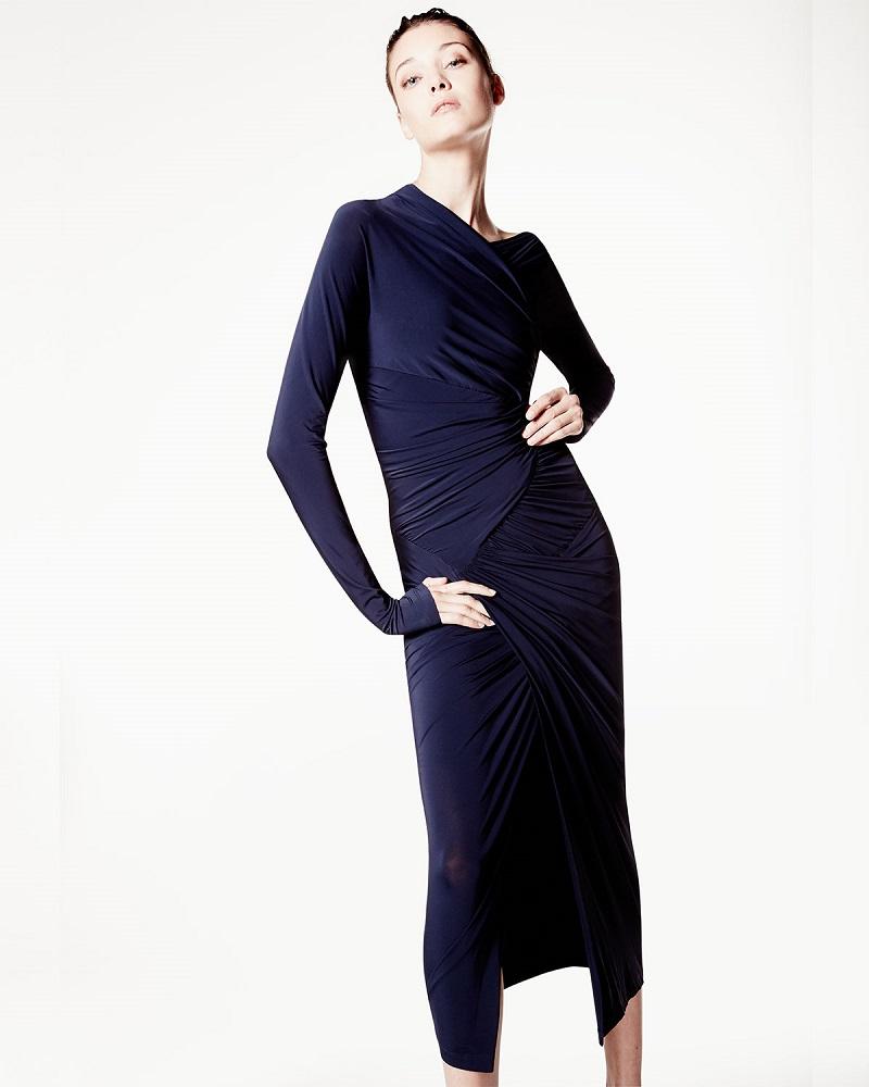 Donna Karan Long-Sleeve Drape Cocktail Sheath Dress