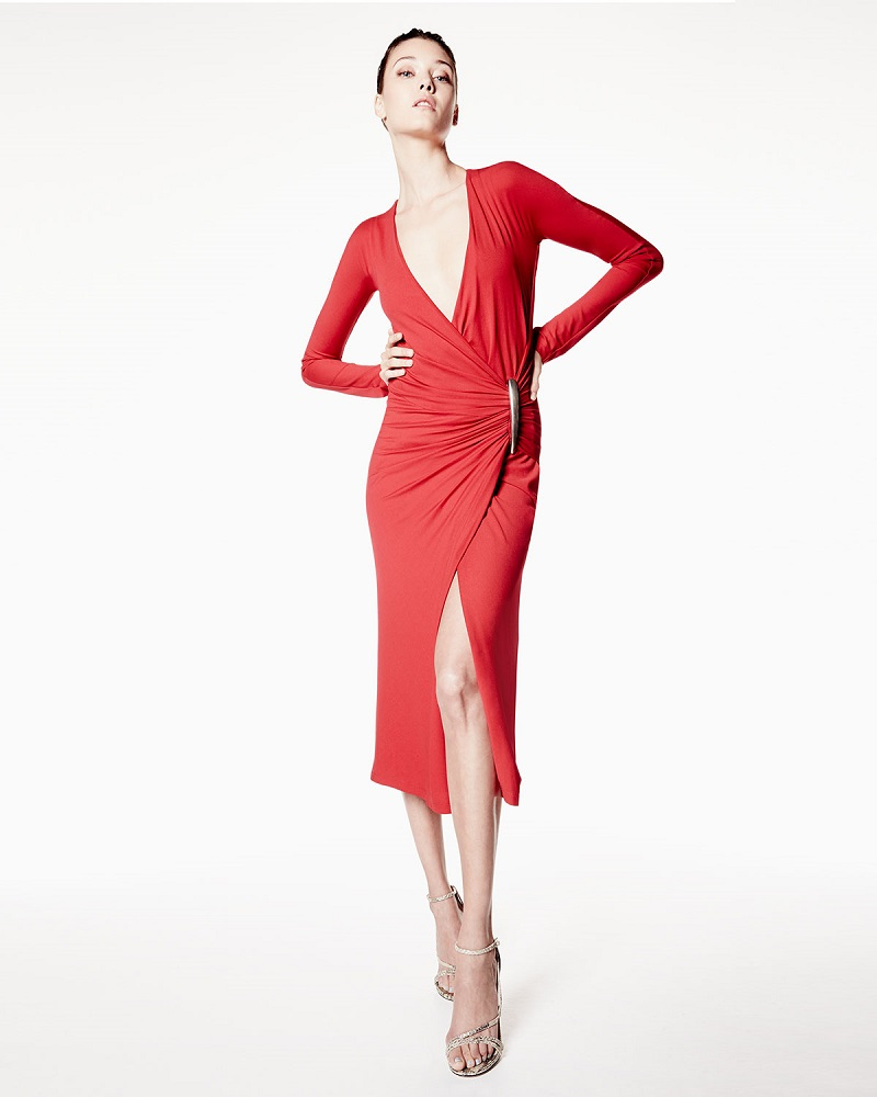 Donna Karan Long-Sleeve Drape Dress