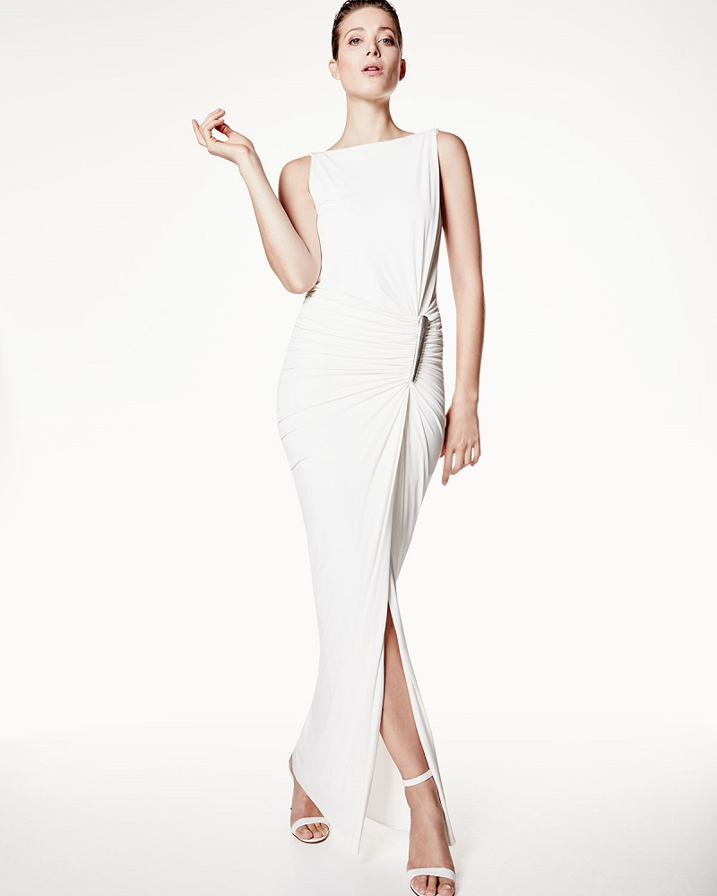 Donna Karan Sleeveless Draped Gown WElement Buckle