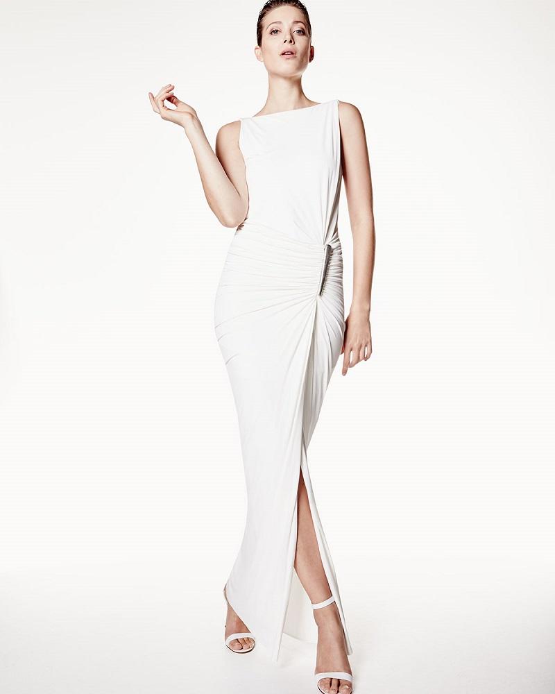 Donna Karan Sleeveless Draped Gown WElement Buckle