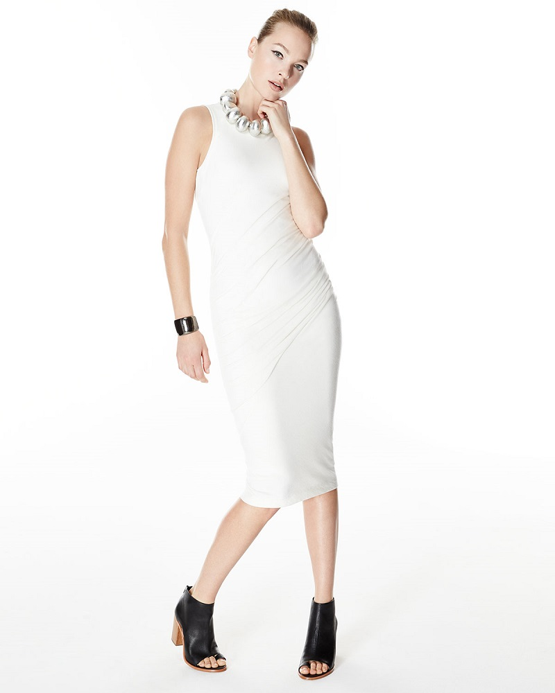 Donna Karan Sleeveless Ruched Midi Dress