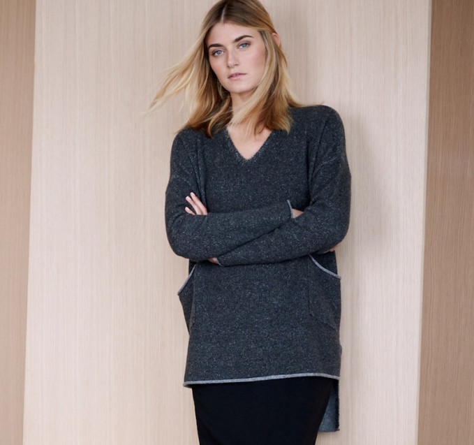 Eileen Fisher Cashmere V-Neck High/Low Tunic