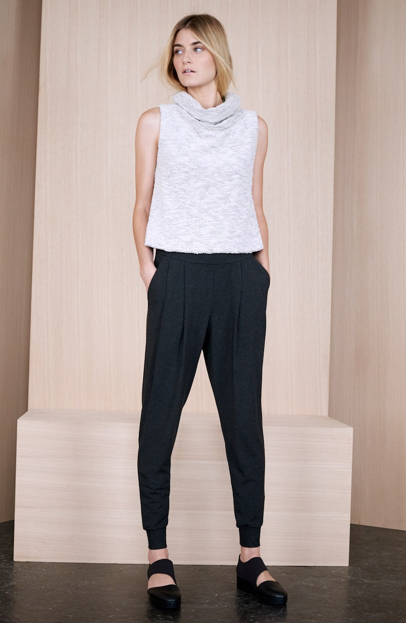 Eileen Fisher Sleeveless Funnel Neck Crop Sweater