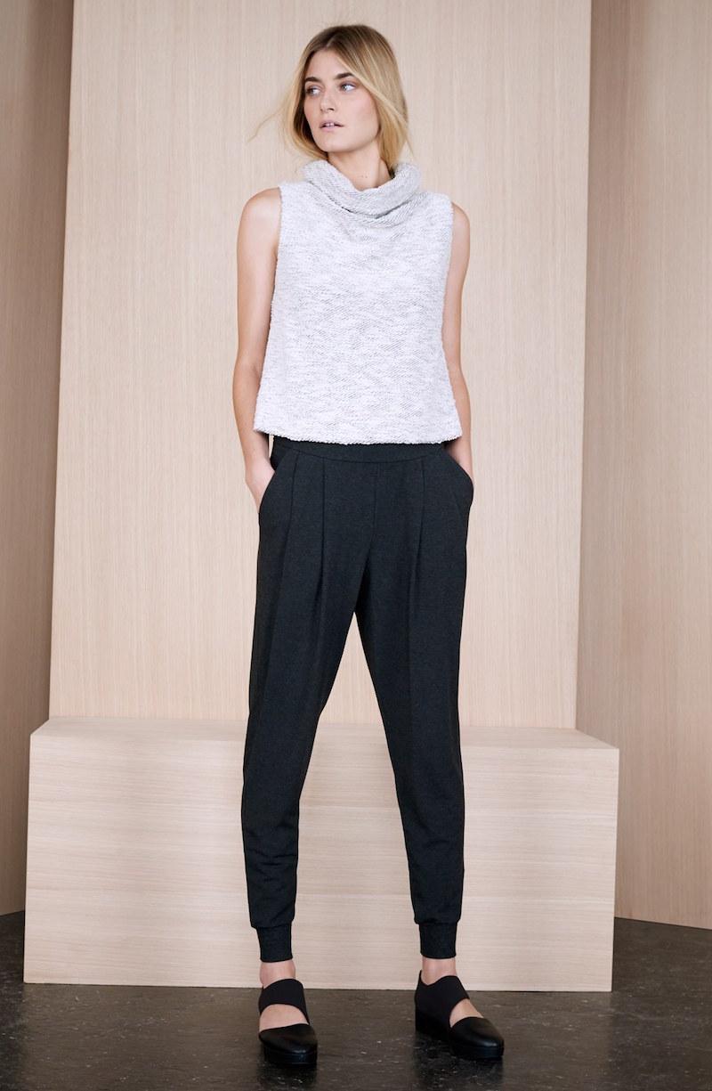Eileen Fisher Sleeveless Funnel Neck Crop Sweater