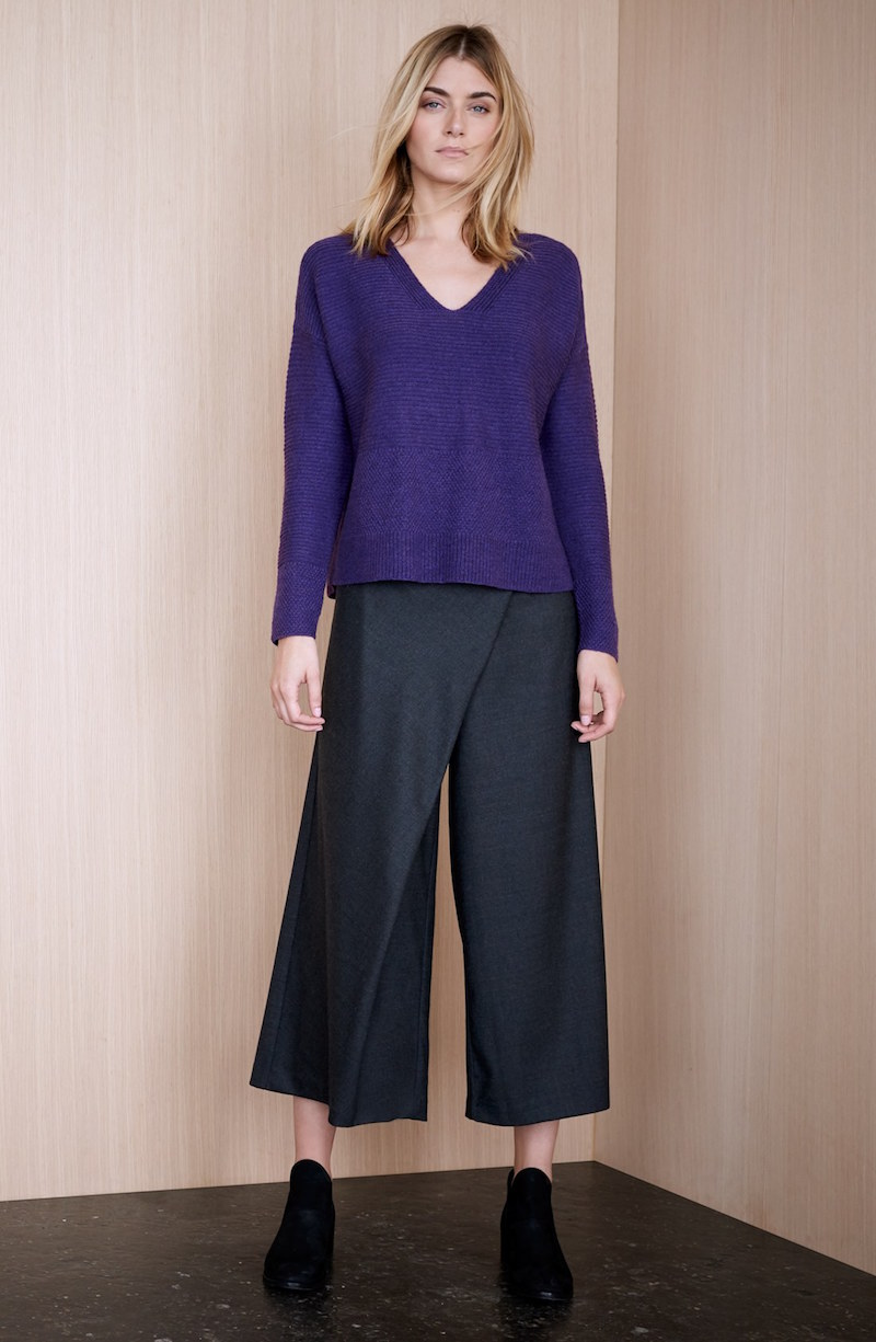 Eileen Fisher Wool Twill Sarong Pants