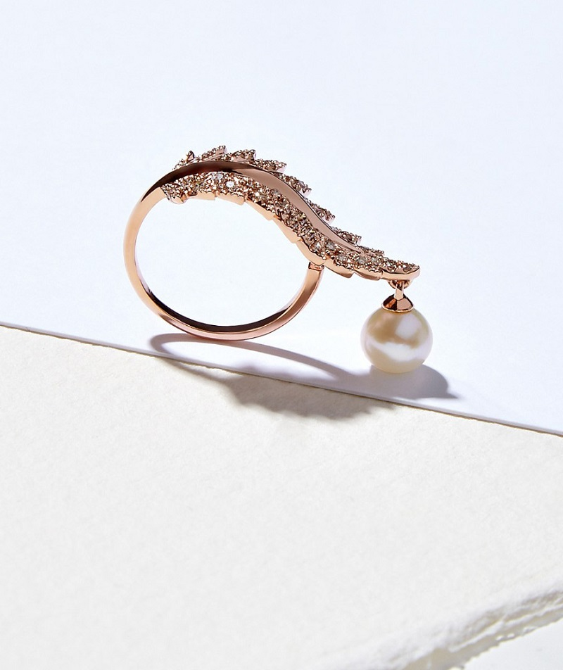 Elise Dray diamond, pearl & pink-gold Plumette ring