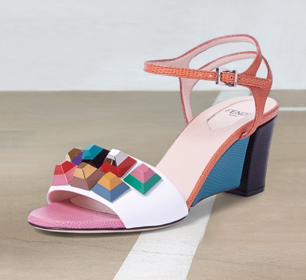 Fendi Rainbow Colorblock Studded Sandal