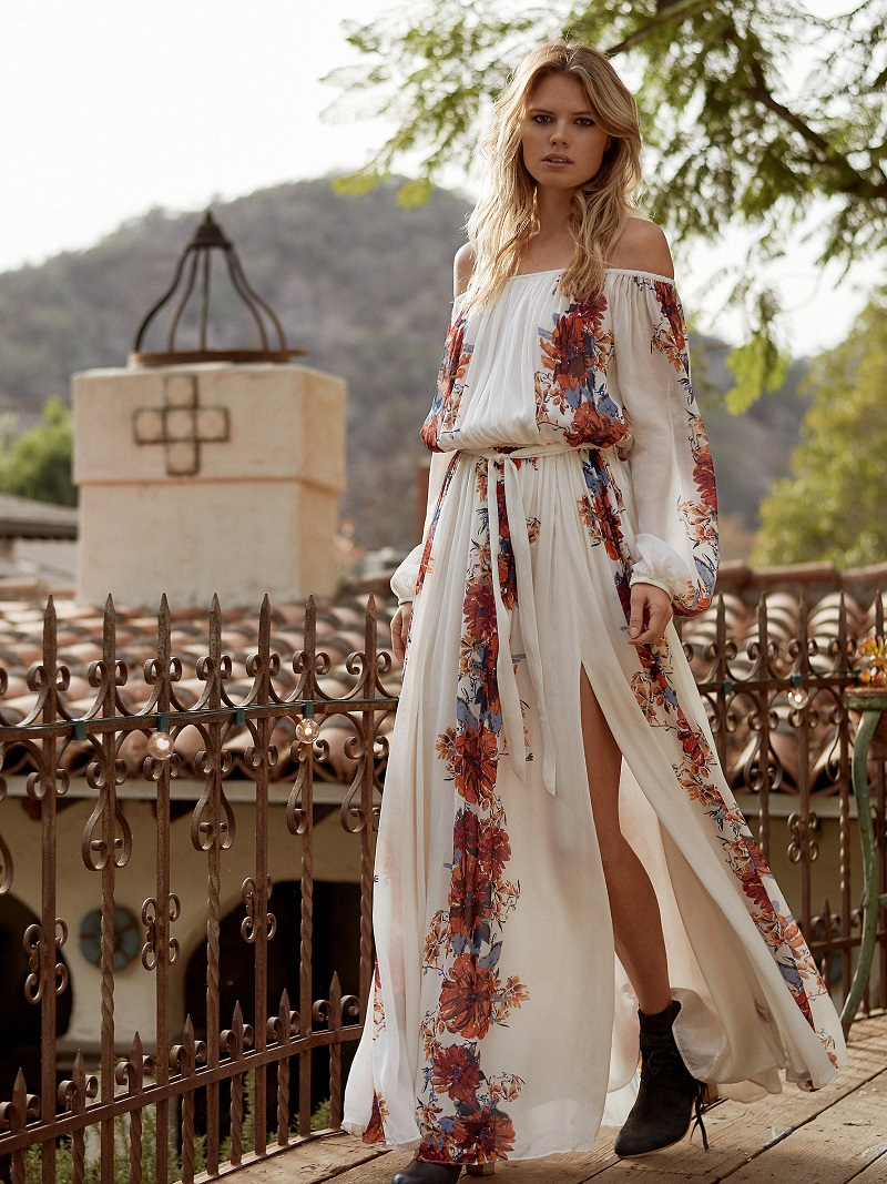 Free People Bardot Printed Maxi