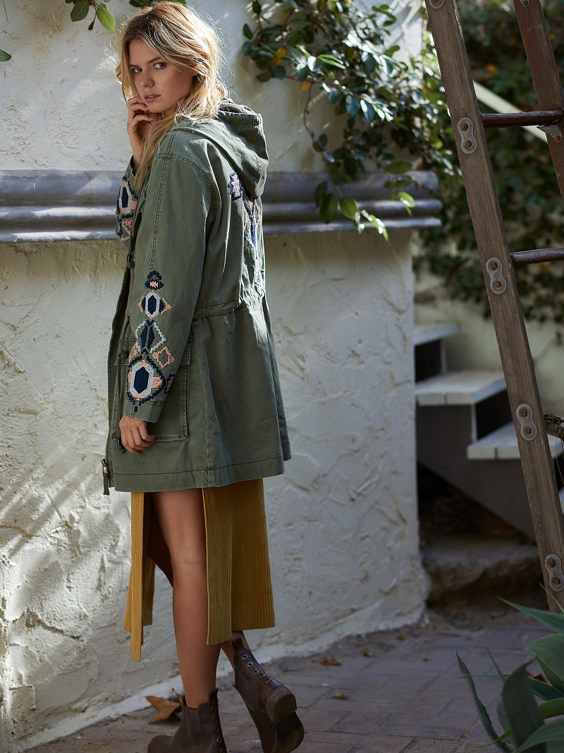 Free People Embroidered Twill Parka