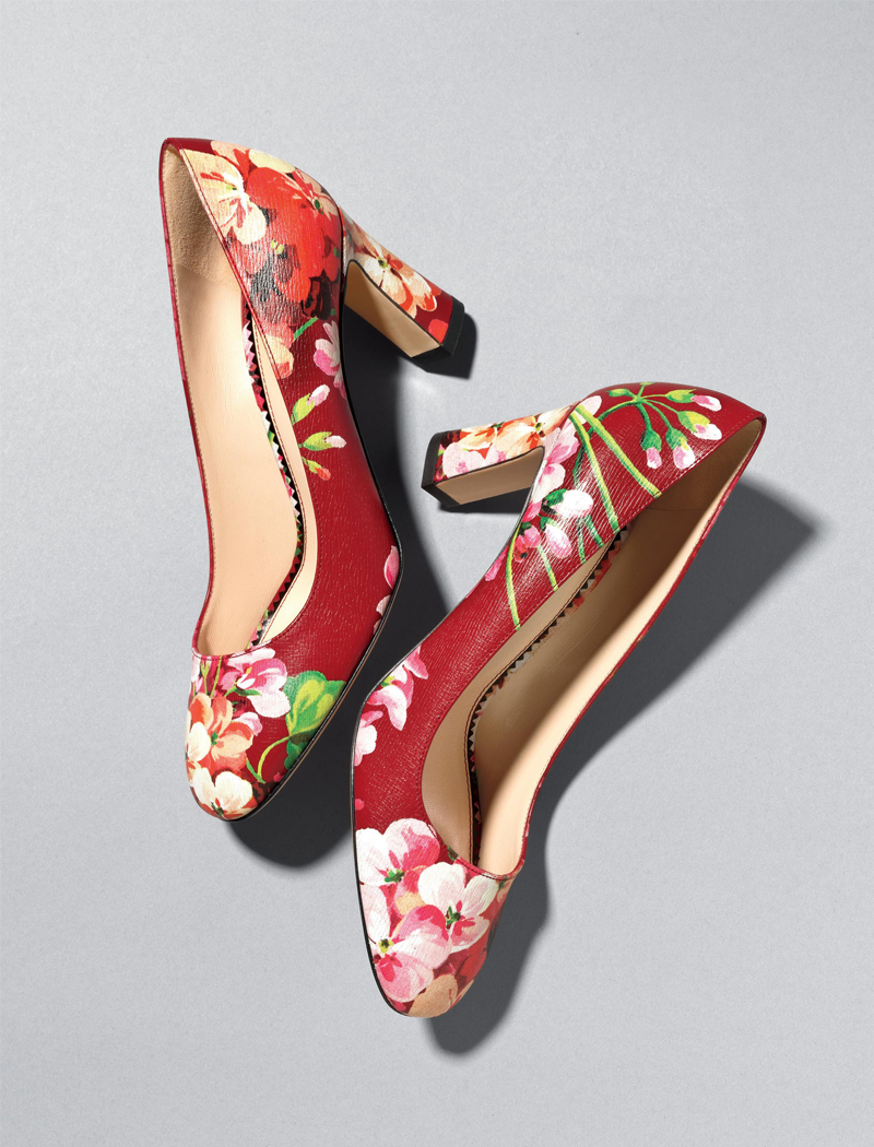 Gucci Marine Floral Leather Pumps