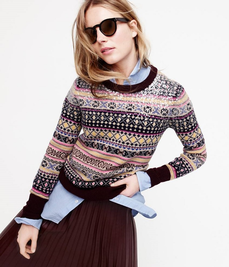 J.Crew Sequin Fair Isle sweater Pullovers