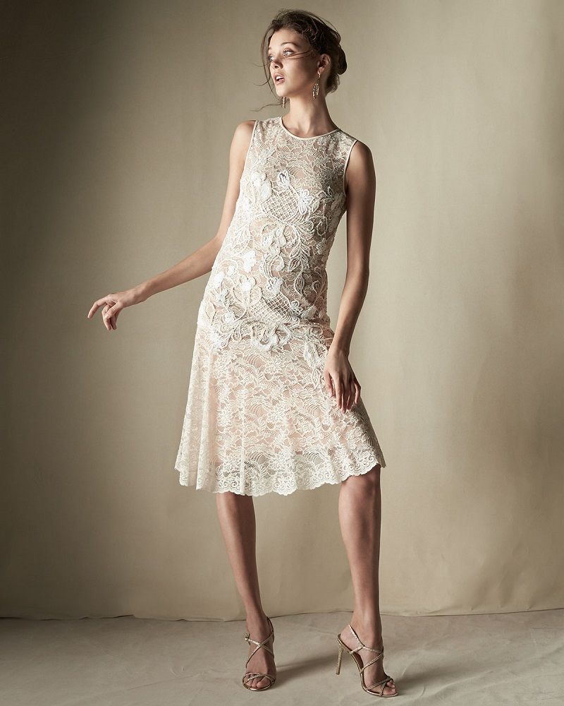 Jenny Packham Floral-Applique Lace Cocktail Dress